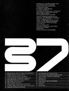 Les Mason / The Epicurean / Issue 37 / Magazine / 1972 Type Design, Graphic Design Art, Layout Design, Print Design, Logo Design, Type Posters, Design Posters, Learning Logo, Typographic Poster