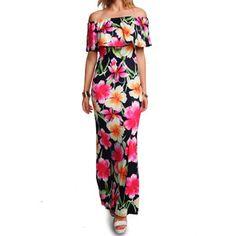Rotita Short Sleeve Flower Print Maxi Dress