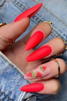 Red And Gold Nails, Red Gel Nails, Aqua Nails, Beachy Nail Designs, Fruit Nail Designs, Exotic Nail Designs, Beach Nail Art, Beach Nails, Summer Vacation Nails