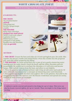 A creamy, decadent white chocolate torte with a gingernut biscuit crumb base & garnished with fresh raspberries and chocolate chips! Chocolate Torte, Best Chocolate Cake, Chocolate Chips, White Chocolate, Fun Baking Recipes, Cookbook Recipes, Sweets Recipes, Homemade Desserts, Delicious Desserts