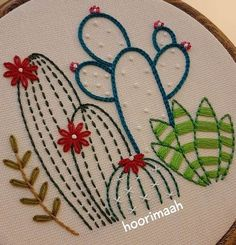 Cactus Embroidery, Hand Embroidery Videos, Embroidery Flowers Pattern, Simple Embroidery, Learn Embroidery, Hand Embroidery Stitches, Embroidery Hoop Art, Hand Embroidery Designs, Diy Broderie