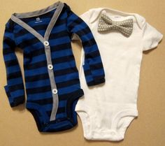Baby Boy Outfit  Blue/Blue Stripe with Gray by KraftsbyKizzy, $32.00