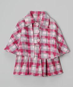 Pink Plaid Cape Jacket - Infant, Toddler & Girls #zulily #zulilyfinds