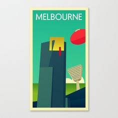 Melbourne - Vintage Retro Stretched Canvas by John Kappa - $85.00