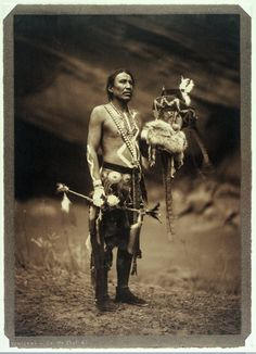 A Navajo man in ceremonial dress. Photograph by Edward S. Curtis, 1904. Via Wellcome Library, London