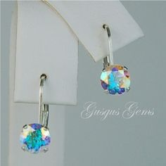 Opalescent Topaz Leverbacks Sterling Silver 6mm by Gusgusgems