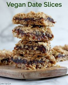 This vegan date squares recipe is easy to make with only 5 simple ingredients. With a crunchy bottom and crumbly oat top, these easy date crumble slices are a true Canadian classic. #Vegan #VeganRecipe #VeganBaking #VeganDessert #Dates #Oats #Squares #DairyFree #DairyFreeBaking #DairyFreeRecipe #DairyFreeDessert #Eggless #OldFashioned #Canadian #CanadianRecipe #Dessert #DessertRecipe Dairy Free Baking, Vegan Baking Recipes, Vegan Dessert Recipes, Vegan Snacks, Vegan Dinners, Dairy Free Recipes, Healthy Desserts, Snack Recipes, Vegan Baked Oatmeal
