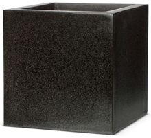 Black square cube planter by Cadix. Part of the Capi Lux range from Cadix, this plant pot measures 40cm x 40cm x 40cm and is frost resistant and UV protected. Made from fiberglass with crushed granite and marble embedded in the resin this planter has the look of stone while bei