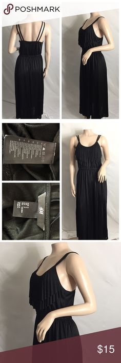 Beautiful long Black small H&M 👗☺️ 2-strapped 👗 Beautiful long Black small H&M 👗☺️ 2-strapped 👗 no rips or stains 100% polyester beautiful ruffled in the front area around the chest area H&M Dresses