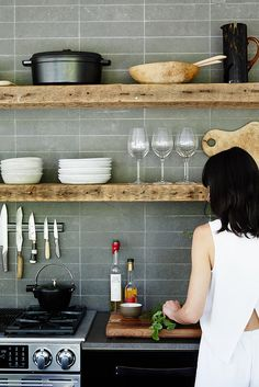 Gray kitchen tiles + rustic wood shelves #kitchen