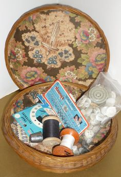Wicker Sewing Basket 1930's40's  As Found by DolllightedToMeetYou, $35.00