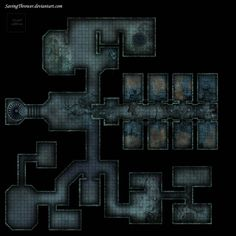 A small clean dungeon map without assets for your personal style. Contains a hidden room and some stairs for a puzzle or multi-layered battle. Clean crypt dungeon battlemap for DnD / Dungeon Tiles, Dungeon Maps, Warhammer 40k, Rpg Cyberpunk, Abandoned Prisons, Underground Map, Rpg Map, Dungeons And Dragons Game, Adventure Map