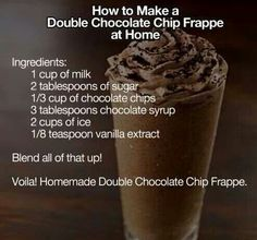 Double Chocolate Chip Frappe at Tasty Fun Recipes We have an easy recipe for you today! It is the Double Chocolate Chip Frappe which is delicious! Everyone has tasted one of these before and if you do (Chocolate Milkshake For One) Yummy Drinks, Delicious Desserts, Dessert Recipes, Yummy Food, Fun Recipes, Cooking Recipes, Recipe Ideas, Drink Recipes, Easy Recipes For One