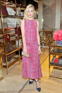 Jaime King wore a red and white dress from Tory Burch's Spring 2015 collection.