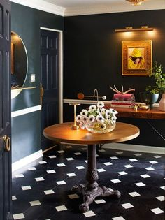 dark blue foyer with black and white checkerboard tiles Chicago Tours, Inspired Homes, Old Hollywood, Fun Projects, House Tours, Restoration, Tiles, Flooring, Black And White