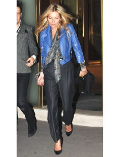 Kate Moss, blue leather