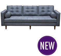 Eva Grey Leather Sofa