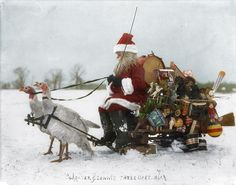 Santa Claus with Christmas toys on a sled drawn by white turkeys. TIME commissioned Sanna Dullaway to colorize vintage holiday photos