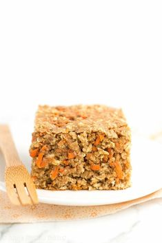 Healthy Carrot Cake Oatmeal Snack Cake! Only 100 calories & SO easy to make! It really does taste like carrot cake -- I'm OBSESSED! And my picky family gave it 2 thumbs up!   easy snack cake   healthy snack cake   carrot snack cake   healthy clean eating snack cake