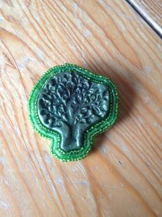 Jewel Enamel and Bead, Felt Tree Brooch £6.00