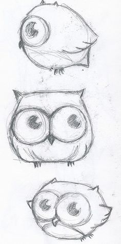 These are really cute owls that would be and easy to draw