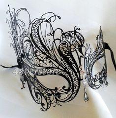 Black Swan Laser Cut Metal Womens Mardi Gras Venetian Masquerade Mask  #BeyondMasquerade