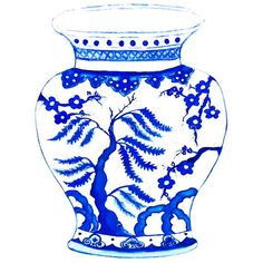 Blue Willow in Ming Print by driftwoodinteriors Blue And White China, Blue China, Vases, Willow Pattern, Fire Art, Stencil Painting, Art Plastique, Chinese Art, Chinoiserie