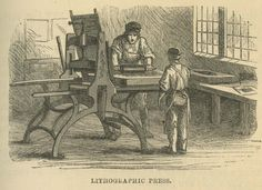 """Lithographic Press"" in Elisha Noyce, The Boy's Book of Industrial Information (New York: D. Appleton & Co., 1858). This printer inks a stone on the bed of a lithographic handpress built with a wood base, fixed scraper, and lever. A lever to move the stone bed, as opposed to a star-wheel mechanism, dominated the presses used by Americans. Based after the star-wheel design developed by Hermann Mitterer (1764-1829) of Munich in 1805, the hand-levered press could print up to 120 impressions an…"