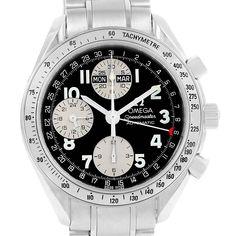 16549 Omega Speedmaster Triple Calendar Black Arabic Dial Watch 3523.51.00 SwissWatchExpo