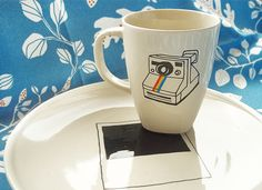 Retro Polaroid Camera cup and plate
