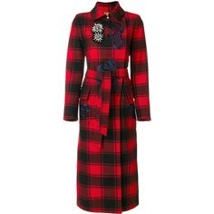 Bazar Deluxe checked trench coat ($1,524) ❤ liked on Polyvore featuring outerwear, coats, red, checkered coat, red trench coats, red coat, bazar deluxe and trench coats