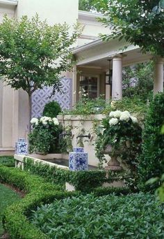 Both front yard and back lawn landscape design disagree in front portion of this home permits for your very first . Read Magnificent Landscaping Inspirations To Beautify Your Front Yard Boxwood Garden, Boxwood Hedge, Dwarf Boxwood, Potager Garden, White Planters, Big Planters, White Vases, White Gardens, Formal Gardens