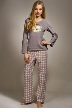 Piżama damska bezowa na długi rekaw , spodnie w kratkę. Piżama z motywem misia rozmiar: S,M,L,XL- Desirebutik.pl