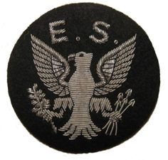"""The Eagle Squadron was the first RAF squadron to be formed with volunteer American pilots at the start of WWII. There were three squadrons, 71, 121 and 133 flying Hurricanes and Spitfires. This insignia is embroidered in silver wire bullion on a black wool felt background. Size: W 3"""" x H 3"""""""