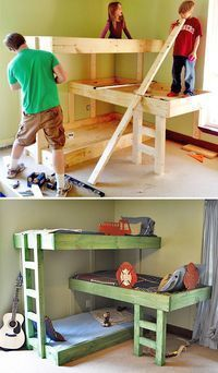 DIY Kids Furniture Projects • Lots of tutorials! Including, from 'the handmade dress', this fantastic diy triple bunk project. #diydresstutorial