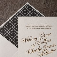 the spence customization. design highlights: plaza — an exclusive smock calligraphy font. gold shine foil stamping. bold black envelope liners. monogrammed belly band. formal glamour.