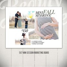 Mini Session Marketing Board Template: Excite - 5x7 Photography Marketing Board by Beauty Divine Design on Etsy