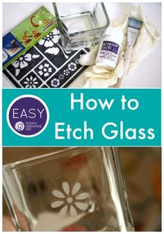 How to Etch Glass Tutorial Easy Craft Ideas Craft projects Glass etching. Diy Craft Projects, Crafts To Do, Easy Crafts, Easy Diy, Craft Ideas, Creative Crafts, Handmade Crafts, Dremel, Mason Jar Crafts