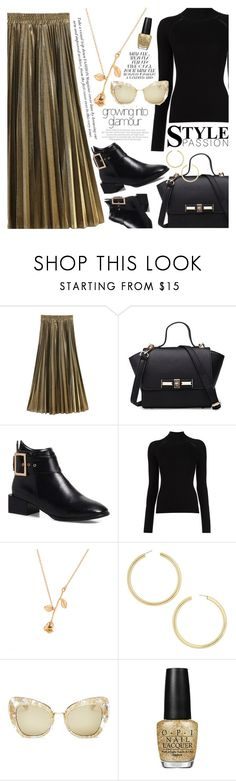 """""""Golden style"""" by vanjazivadinovic ❤ liked on Polyvore featuring BaubleBar, Dolce&Gabbana, OPI, polyvoreeditorial and gamiss"""