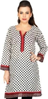 Cenizas Casual 3/4 Sleeve Polka Print Women's Kurti for Rs.899.00 - Rs.609.00 (Instant Discount) = Rs.290.00 plus Shipping charges