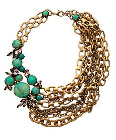 asymmetrical accent necklace...gold & turquoise