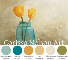 Tulips in Mason Jar color palette