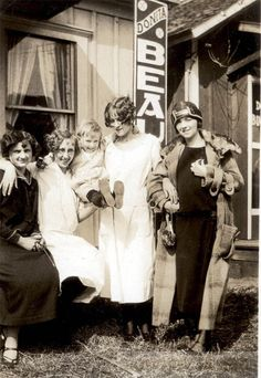 1920s Flapper Era Cute young Women Baby out front by Beauty Shop Tulsa OK