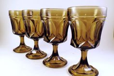 4 Fairfield by Anchor Hocking Glasses Stems Tawny by cookiebabe