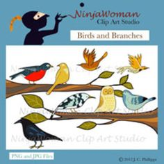 Birds of a feather play together!  The collection of clip art includes: Crow, Warbler, Bunting, Sparrow, Wren, Flicker, Robin, and Owl. Also, you get a Left Branch, Right Branch and a Big Tree.  All of my clip art is original art, hand drawn, by me.  The images in this set are saved in 300 dpi so the graphics look sharp on your projects.
