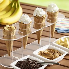Grilled Peanut Butter, Banana and Chocolate Cones: A dessert recipe with chocolate morsels, peanut butter and bananas stuffed in a sugar cone and grilled before topping with Reddi-wip. Recipe developed by George Duran Peanut Butter Banana, Chocolate Peanut Butter, Delicious Desserts, Dessert Recipes, Fruit Dessert, Healthy Desserts, Chocolate Cone, Chocolate Morsels, Summer Grilling Recipes