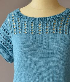 Free Knitting Pattern for Blissful Tee Top - Short-sleeved pullover with lace yoke with a 4-row repeat pattern. Sizes: S, M, L, 1X, 2X, 3X From Universal Yarn