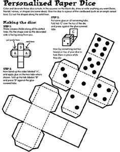 Personalized Paper Dice coloring page