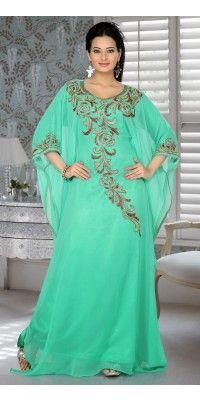 Embellish Mint Green Color Embroidered Stylish Kaftan Dresses - FINAL SALE