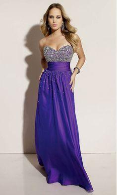 strapless purple prom dress
